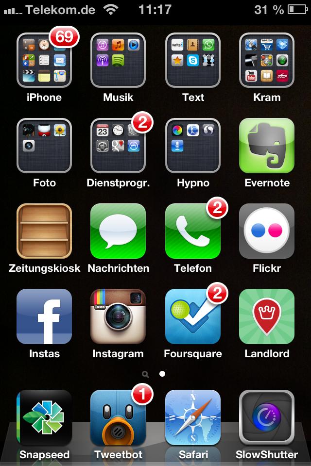 Hier siehst die alle Apps, die ich auf dem iPhone auf dem Homescreen habe